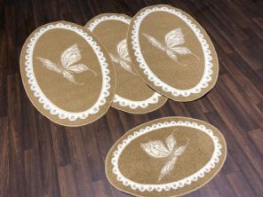 ROMANY GYPSY OVALS WASHABLES FULL SETS  TOURERS SIZE 67X120CM MATS BEIGES/CREAM